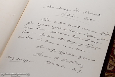 A book pulled from the shelves of the Bidwell Mansion Library shows a note to Annie Bidwell from Susan B. Anthony dated Aug. 20, 1905 is seen during a tour of the Bidwell Mansion in Chico, Calif. Thurs. Sept. 22, 2016.  (Bill Husa -- Enterprise-Record)