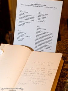 Susan B. Anthony's inscriptions are typed up for a display in the library seen during a tour of the Bidwell Mansion in Chico, Calif. Thurs. Sept. 22, 2016.  (Bill Husa -- Enterprise-Record)