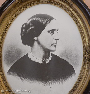 A photo of Susan B. Anthony hangs on display in the foryer seen during a tour of the Bidwell Mansion in Chico, Calif. Thurs. Sept. 22, 2016.  (Bill Husa -- Enterprise-Record)