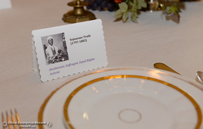 A place setting reserved for Suffragist Sojourner Truth is seen at the dining room table seen during a tour of the Bidwell Mansion in Chico, Calif. Thurs. Sept. 22, 2016.  (Bill Husa -- Enterprise-Record)