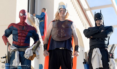 Window washers from A Touch of Glass bring smiles to faces of children and adults as they clean the windows on the fourth floor of Enloe Medical Center dressed as Superheroes Monday Sept. 19, 2016. The crew led by Chad Woodard dressed as Superman includes James Troupe as Spiderman, Mark Clarno as Thor and Spencer Rogers as Batman. Rogers said this was the first time they had dressed as Superheroes for work but enjoyed bringing smiles to faces at Enloe Monday morning. (Bill Husa -- Enterprise-Record)