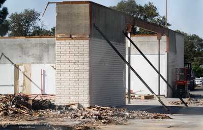 They build 'em then tear 'em down, the building that housed the Chuck E. Cheese's on East Avenue near Cohasset Avenue is being demolished Wednesday September 21, 2016 at Bidwell Junior High School in Chico, Calif. (Emily Bertolino -- Enterprise-Record)