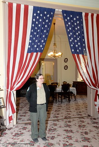 Calif. State Parks Park Aid Sondra Murphy talks about Womens Suffrage during a tour of the parlour at the Bidwell Mansion in Chico, Calif. Thurs. Sept. 22, 2016.  (Bill Husa -- Enterprise-Record)