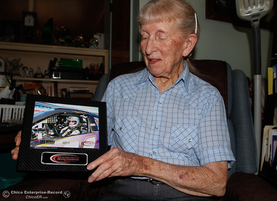 Janet Parker, 87, talks about here experience NASCAR style race car at the Richard Petty Raceway in Las Vegas Tuesday August 29, 2017 in Chico, California. (Emily Bertolino -- Enterprise-Record)