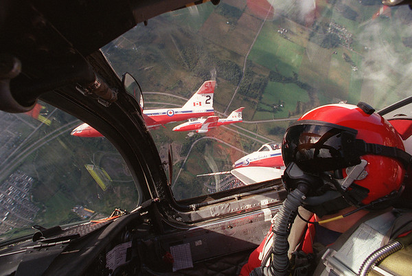 Snowbirds take the media on a flight before the airshow. Captain Chris Van Vliet at the controls over Ottawa. Photo by Patrick Doyle.