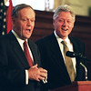 Ottawa-10/08/99-Bill Clinton and Jean Chretien at a press conference on Parliament Hill. Photo by Patrick Doyle.