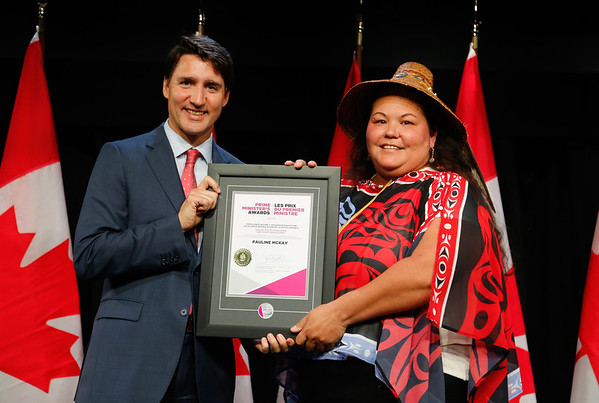 Pauline McKay receives the Prime Minister's Award for Excellence in Early Childhood Education from Prime Minister Justin Trudeau at a ceremony in Ottawa on May 28, 2019.
