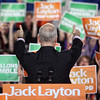 New Democratic Party (NDP) leader Jack Layton gives thumbs up to the crowd at a campaign rally in Gatineau, Quebec, April 25, 2011. Photo by Patrick Doyle.