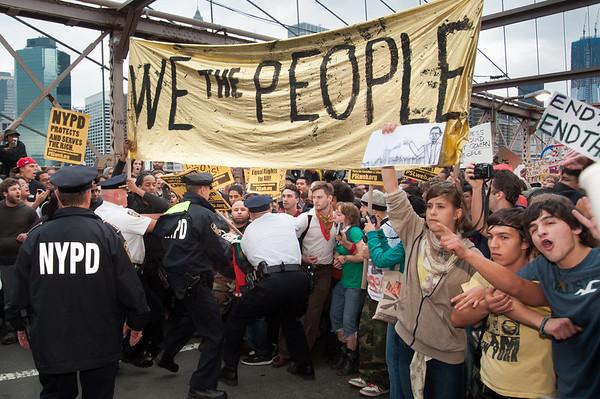 Occupy Wall St. march on Brooklyn Bridge