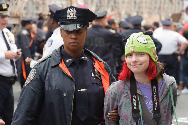 Girl in green hat arrested during the occupation of the Brooklyn Bridge