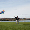 Record-Eagle/Keith King<br /> Peter Horrom, of Traverse City, enjoys a day off from work as he raises his kite Thursday, November 3, 2011 at the Open Space in Traverse City.