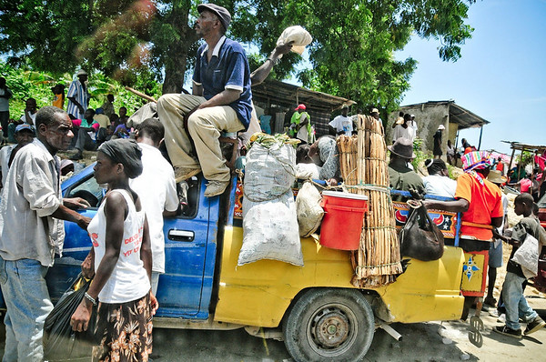 Photo courtesy of Jared Kohler A loaded tap-tap (or shared taxi) prepares to depart from a busy market near La Bastille, Haiti — north of Port Au Prince.