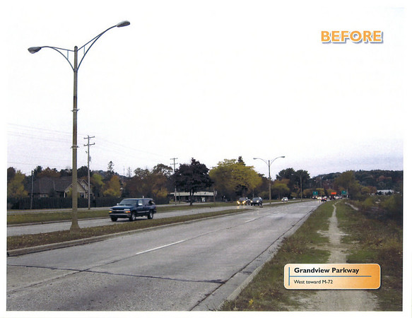 BEFORE: Grandview Parkway, west toward M-72.<br /> Conceptual rendering courtesy Traverse City Light & Power