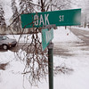 Record-Eagle/Keith King<br /> A branch hangs from a street sign at the intersection of Oak Street and Ninth Street Saturday, March 3, 2012 in Traverse City.