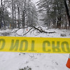 Record-Eagle/Keith King<br /> 'Do not cross' tape and orange cones are set up near a downed line and fallen tree branches Saturday, March 3, 2012 at 17th Street and Cass Street in Traverse City. A portion of Cass Street was also blocked off.