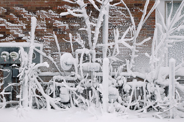 Record-Eagle/Keith King<br /> Snow accumulates on the side of a building Tuesday, January 17, 2012 in the Traverse City Warehouse District.