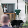 Record-Eagle/Keith King<br /> Kevin Jaeger looks out his back patio door along Eighth Street to see a black bear Sunday, May 29, 2011 as members  of area law enforcement, area fire fighters and state natural resources officers stand near in Traverse City, Mich.