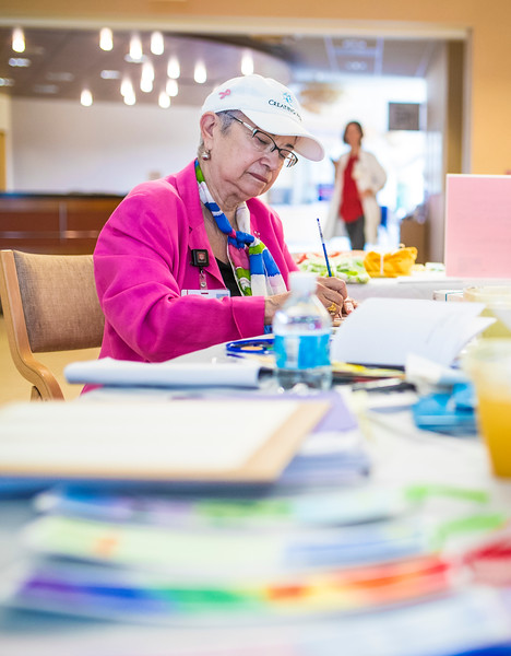 For 17 years, Tina and John Gianfagna have carried on their daughter's legacy. Every Thursday they can be found at IU Health Simon Cancer Center encouraging patients, family members, and staff to find comfort through art. (IU Health/Evan De Stefano)