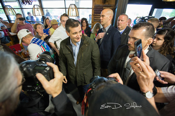 Presidential candidate Ted Cruz is seen entering the Wagon Wheel in Bloomington, IN during a campaign stop. Cruz and Bernie Sanders would be the only candidates to visit Bloomington during the 2016 election season.