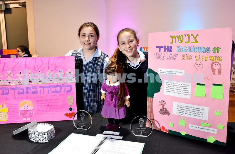 Kesser Torah College Primary School Torah Fair. Malia Isacowitz and Chana Schapiro with their project on modesty. Pic Noel Kessel
