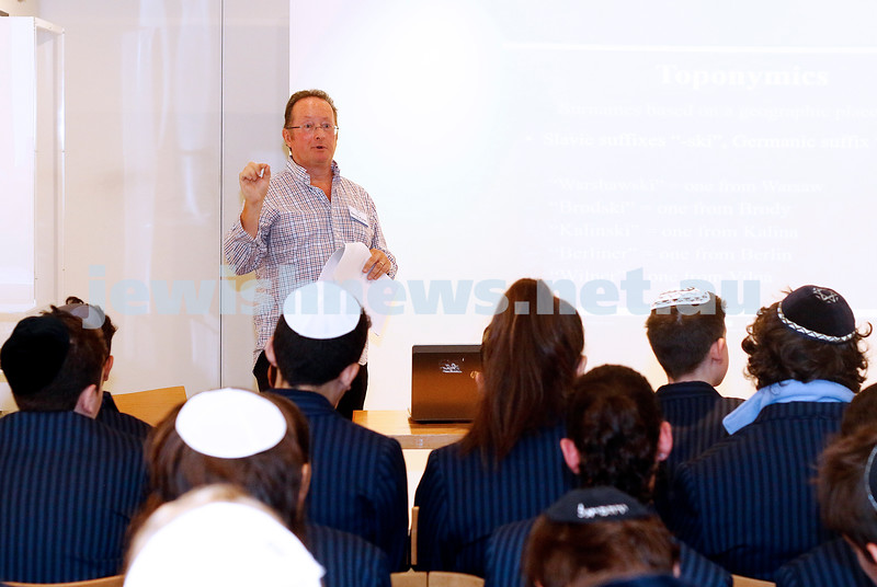 14-2-17. Bernie Kuran from the Australian Jewish Genealogical Society,  speaking to year 8 Mount Scopus College students for their roots project at a session at the Jewish Museum of Australia. Photo: Peter Haskin