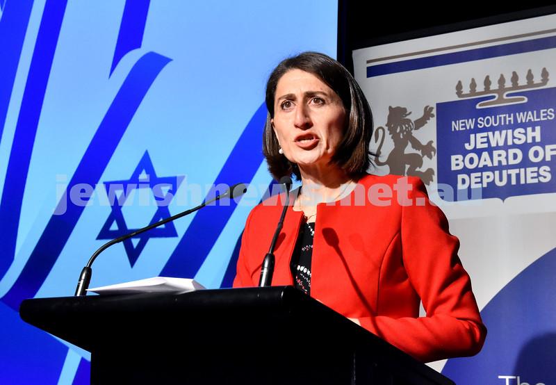 Communal Yom Haatzmaut. NSW Premier Gladys Berejiklian. Pic Noel Kessel