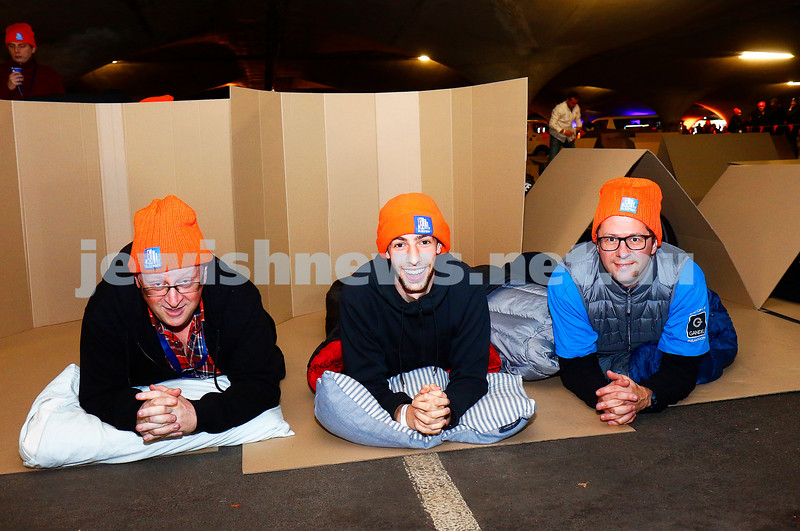 22-6-17. St Vincents CEO Sleep Out. From left: David Marlow (JCCV), Saul Burston (AUJS), Vedran Drakulic (Gandel Philanthropy) at the sleep out at Melbourne Uniuversity. Photo: Peter Haskin
