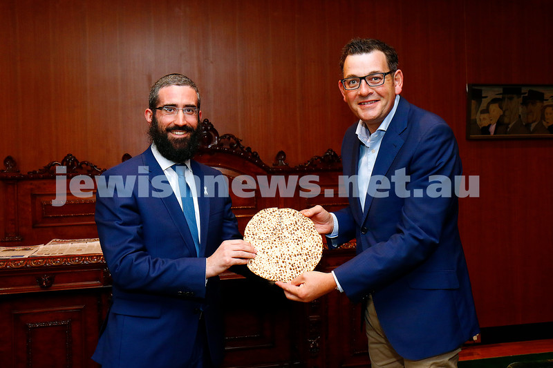 29-3-17. Rabbi Yaakov Glasman visits Victorian Premier Daniel Andrews leading up to Pesach. Photo: Peter Haskin