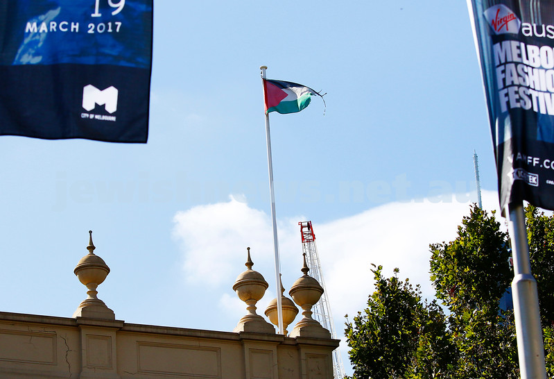 21-2-17. Palestinian flag flying over Trades Hall in Carlton. Photo: Peter Haskin