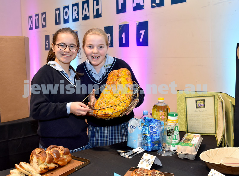 Kesser Torah College Primary School Torah Fair. Bibbles Lobel (left) and Baila Dolnikov with their Challah project. Pic Noel Kessel
