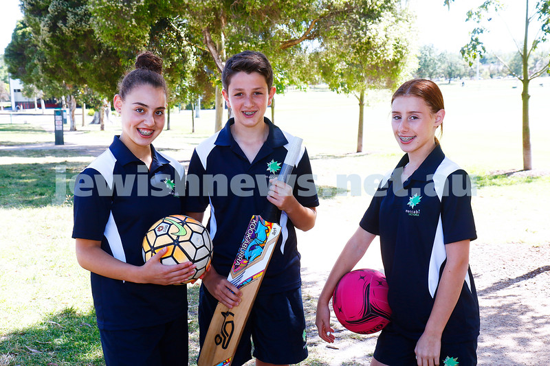 19-12-16. All ready for junior carnival. Vicrorian team members Halli Klinger, Benji Goldberg, Indi Alfasi decked out in their uniforms ready for Perth Junior Carnival January 2017. Photo: Peter Haskin