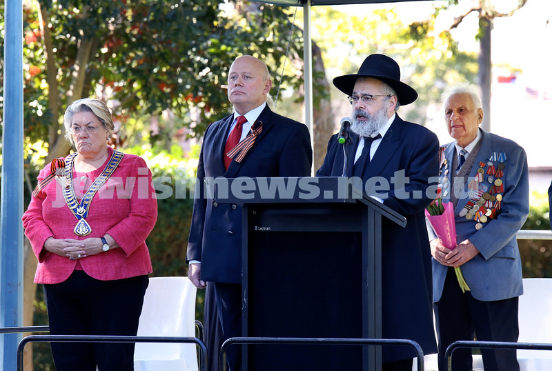 Victory Day Ceremony at Waverley. From left: Waverley Mayor Sally Betts, Russian Ambassador Grigory Logvinov, Rabbi Ulman. Pic Noel Kessel