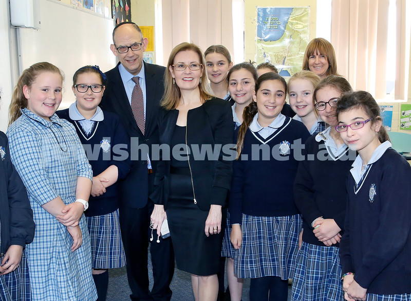 Local State MP Gabrielle Upton presents Kesser Torah College with a cheque for $400000. Pictured with school principal Roy Steinman and a class of yr 6 girls with teacher Aviva Itkin. Pic Noel Kessel