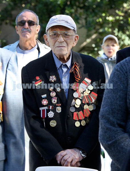 Victory Day ceremony at Waverley. Alexander Kupershlyak during the ceremony. Pic Noel Kessel