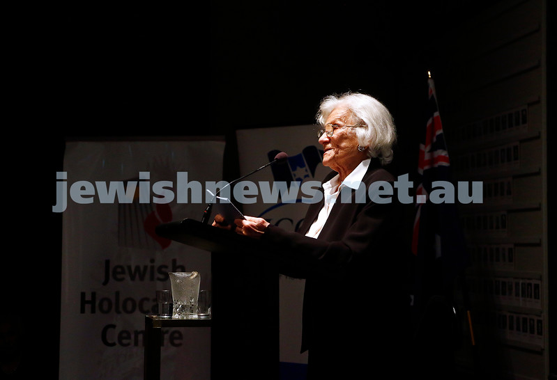 30-1-17. Jewish Holocaust Centre. UN Holocaust Remembrance Day.  Survivor testimony, Baba Schwartz. Photo: Peter Haskin