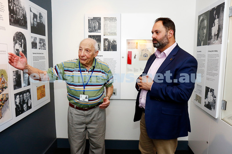 12-5-17. Jewish Holocaust Centre. Cheque presented for $750,000 from the State government by Philip Dalidakis. Survivor and guide,  Joe De Haan with Philip Dalidakis. Photo: Peter Haskin