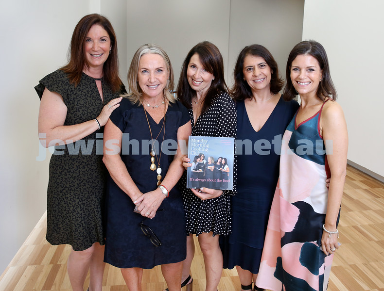 Monday Morning Cooking Club book launch at Chiswick at Art Gallery NSW. From left: Jaqui Israel, Lisa Goldberg, Natanya Eskin, Lynn Niselow,Merelyn Chalmers. Pic Noel Kessel