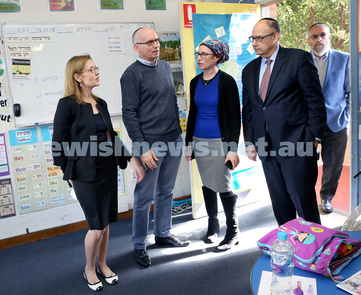 Local State MP Gabrielle Upton presents Kesser Torah College with a cheque for $400000. From left: Gabrielle Upton, Saville Abramowitz, Ilana Kaplan, Roy Steinman, Meir Moss. Pic Noel Kessel