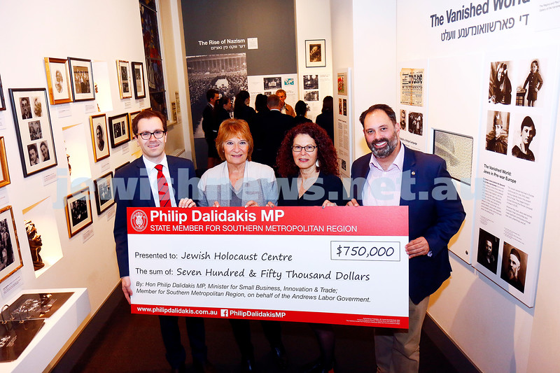 12-5-17. Jewish Holocaust Centre. Checque presented for $750,000 from the State government By Philip Dalidakis. From left: Nick Staikos, Helen Mahemoff Sue Hampel, Philip Dalidakis. Photo: Peter Haskin