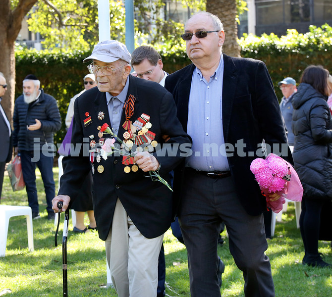 Victory Day ceremony at Waverley. Alexander Kupershlyak and Leon Rodov. Pic Noel Kessel