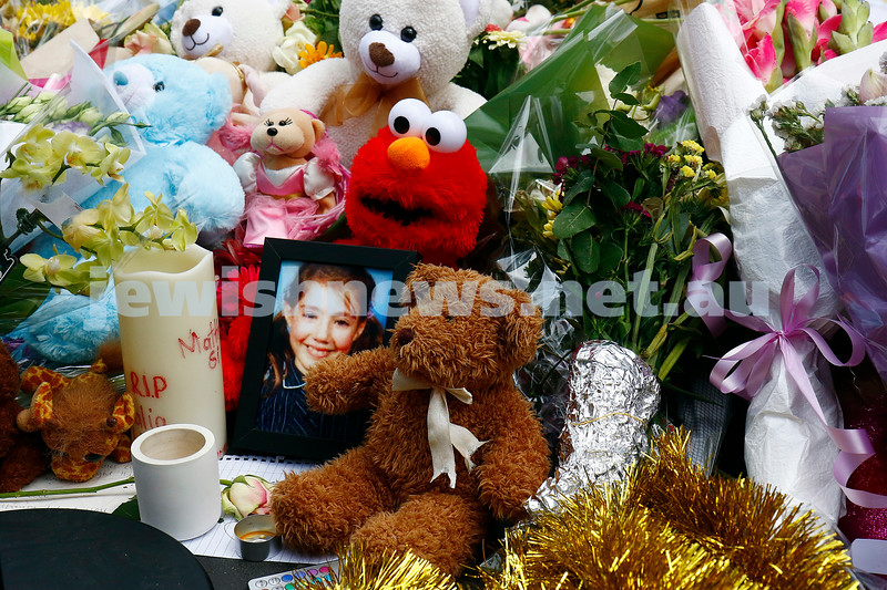 23-1-17. Hundreds of floral bouquets in the Bourke St mall as a memorial to the people who died in the tragic car attack in the Melbourne CBD, one of which was 10 yr old Beth Rivkah student Thalia Hakin. Photo: Peter Haskin