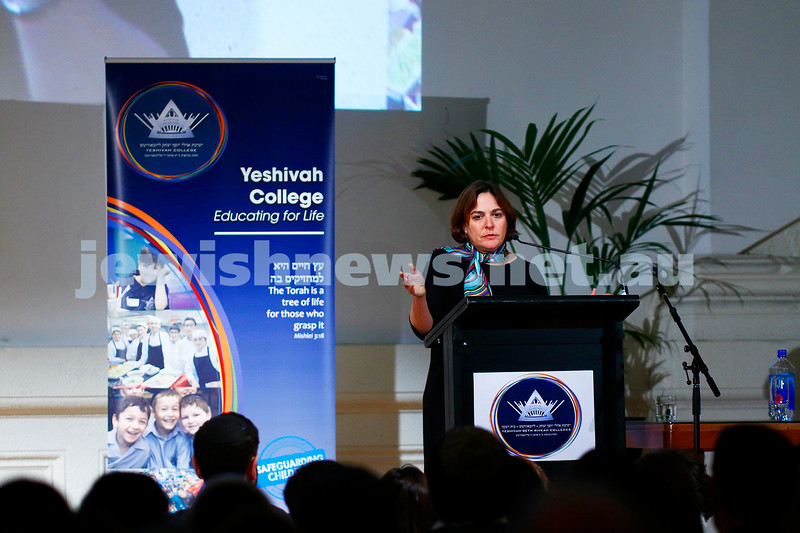 18-7-17. Deputy managing editor of the Jerusalem Post Caroline Glick speaking at Yeshivah - Beth Rivkah funraising e=vening at St Kilda Town Hall. Photo: Peter Haskin