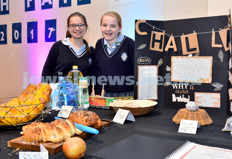 Kesser Torah College Primary School Torah Fair. Bibbles Lobel (left), and Baila Dolnikov with their project on Challah. Pic Noel Kessel