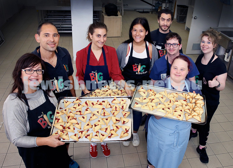 OBK have set out to bake 10 thousand Hamantashen over the next 2 weeks to hand out on Purim. (From left) Laya Slavin, Daniel Moss, Belinda Kass, Bethany Bulcock, Dean Corban, Ricky Kremer, Laura Cameron, Sandy Vasserman. Pic Noel Kessel