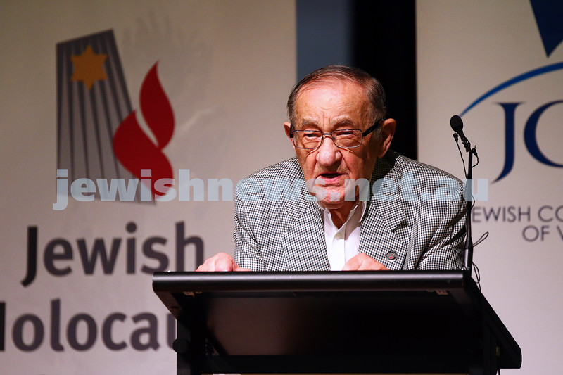 27-1-16. Holocaust Memorial Day 2016. Glen Eira Town Hall. Survivor testimony from Moshe Fiszman. Photo: Peter Haskin