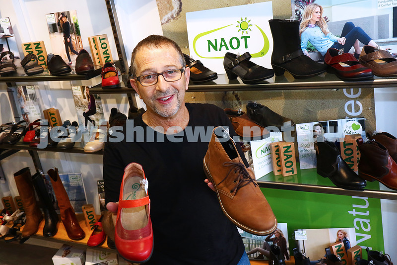 17-5-16. Daniel from Soul 2 Soul with some of his Naot range of shoes. Photo: Peter Haskin