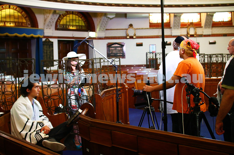 21-2-16. St Kilda shul. Shooting feature film. Photo: Peter Haskin