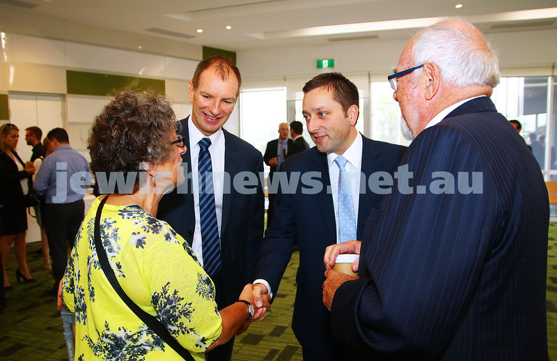 29-2-16. Victorian coalition shadow cabinet morning tea in Bentleigh. Shirley Glance meeting Opposition Leader Matthew Guy. With David Southwick (left) and Grahame Leonard. Photo: Peter Haskin