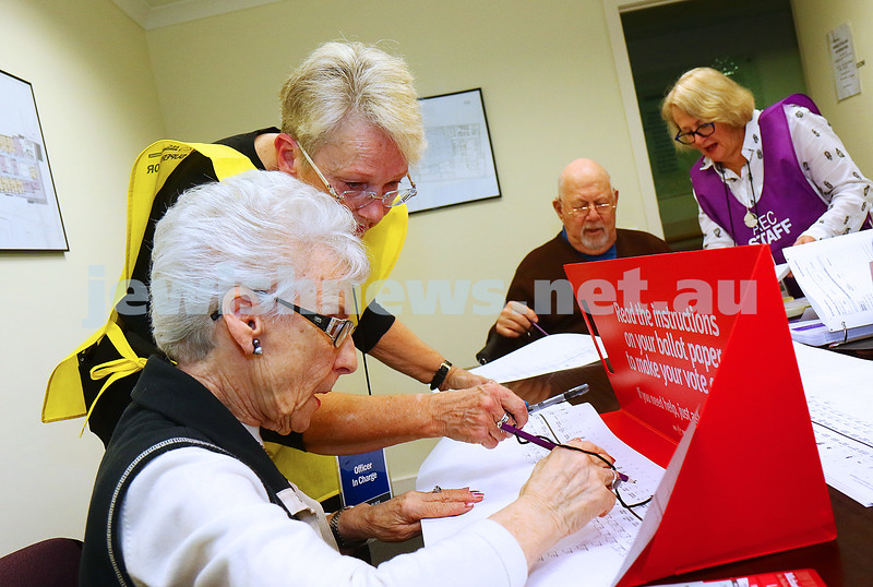20-6-16. Federal election 2016. Mobile voting station at Emmy Monash Aged Care. Hazel and Stan Goldman preparing to vote. Photo: Peter Haskin