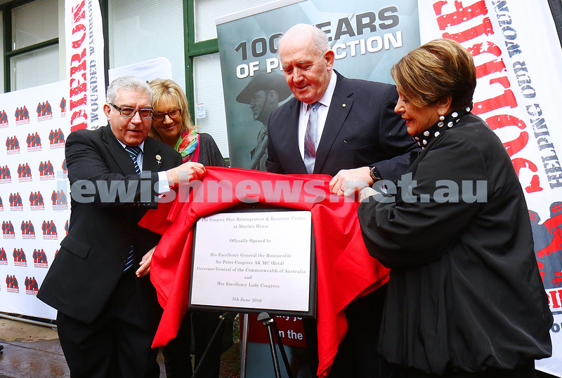 5-6-16. Soldier On. New rehabilitation centre opened in Melbourne and named in honor of Private Greg Sher who was killed in 2009 in Afgahnistan. From left Felix and Yvonne Sher, Governor General Peter Cosgrove and Lynne Cosgrove. Photo: Peter Haskin